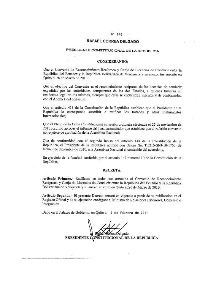 Decreto presidencial 646 licencias conducir