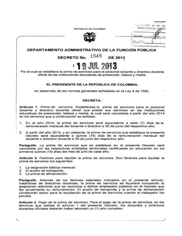 Decreto prima de servicios para los docentes