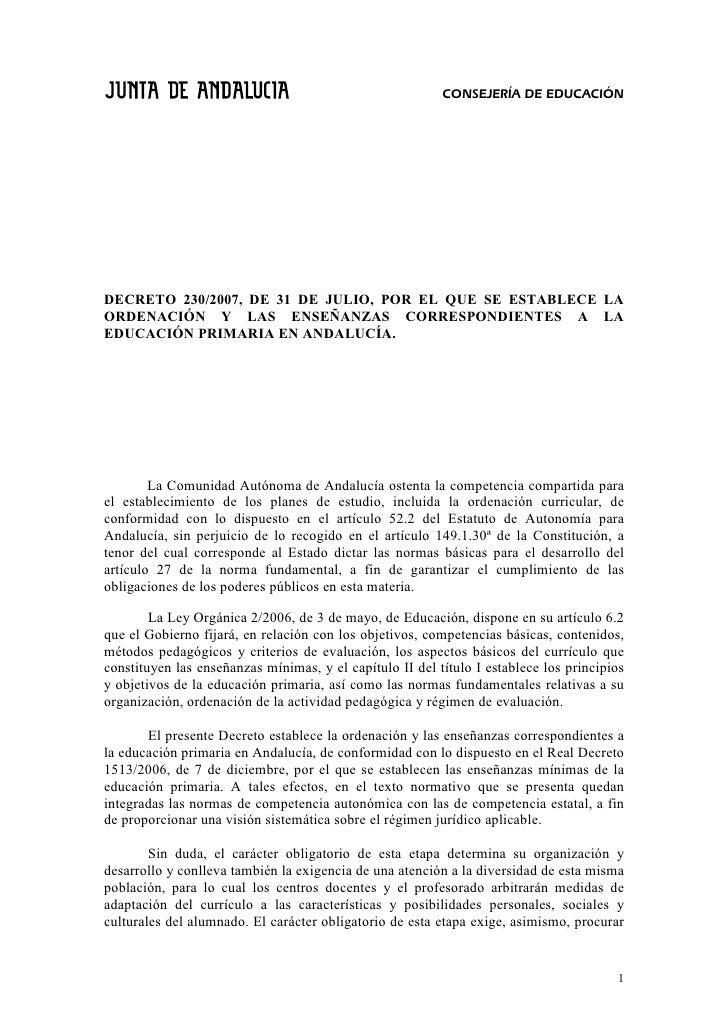 CONSEJERÍA DE EDUCACIÓN     DECRETO 230/2007, DE 31 DE JULIO, POR EL QUE SE ESTABLECE LA ORDENACIÓN Y LAS ENSEÑANZAS CORRE...