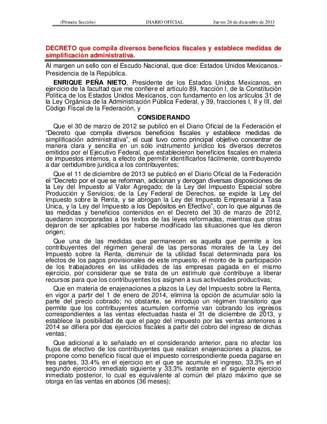 Decreto que compila diversos beneficios fiscales y establece medidas de simplificación administrativa