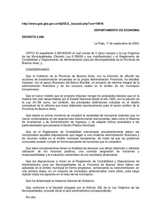 http://www.gob.gba.gov.ar/dijl/DIJL_buscaid.php?var=19616 DEPARTAMENTO DE ECONOMIA DECRETO 2.980 La Plata, 1º de septiembr...