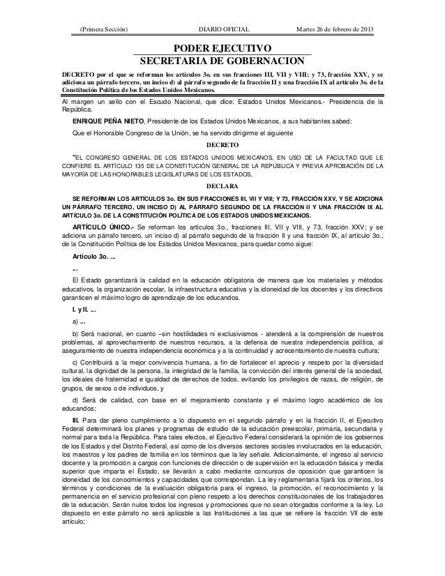 (Primera Sección)                        DIARIO OFICIAL                      Martes 26 de febrero de 2013                 ...