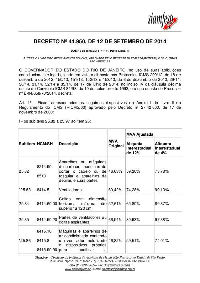 Siamfesp – Sindicato da Indústria de Artefatos de Metais Não Ferrosos no Estado de São Paulo  Rua Padre Raposo, 39 7º anda...