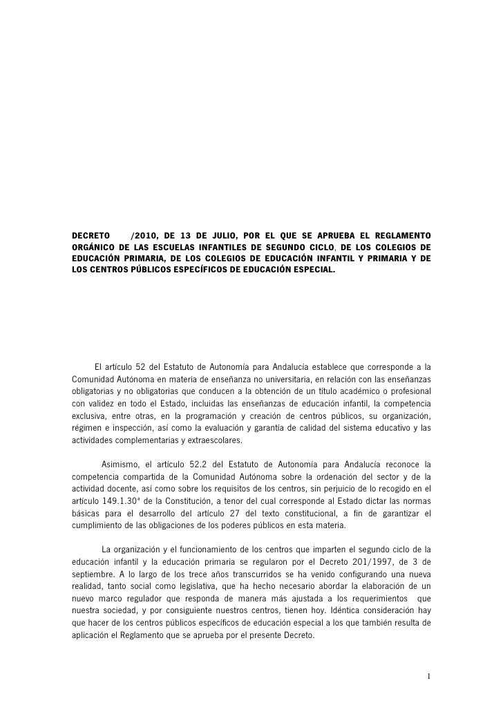 DECRETO     /2010, DE 13 DE JULIO, POR EL QUE SE APRUEBA EL REGLAMENTO ORGÁNICO DE LAS ESCUELAS INFANTILES DE SEGUNDO CICL...