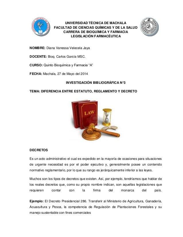 UNIVERSIDAD TÉCNICA DE MACHALA FACULTAD DE CIENCIAS QUÍMICAS Y DE LA SALUD CARRERA DE BIOQUÍMICA Y FARMACIA LEGISLACIÓN FA...