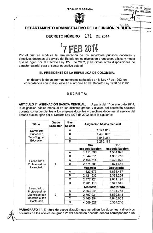 Decreto salarial 1278 para 2014