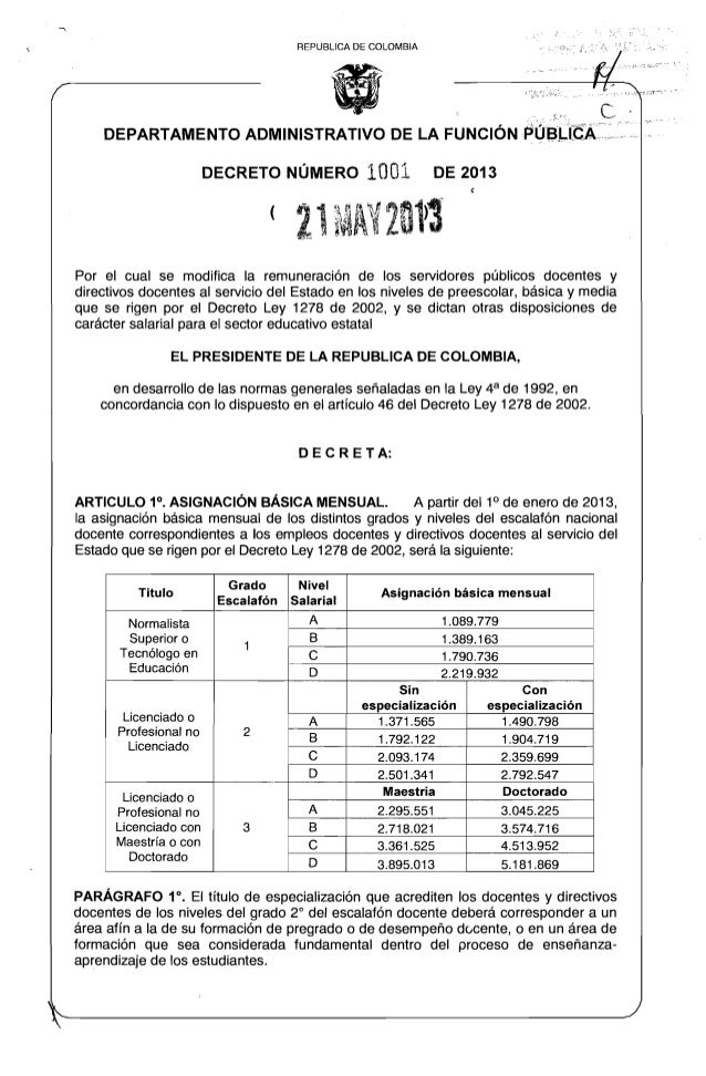 Tabla salarial docentes 1278 2013