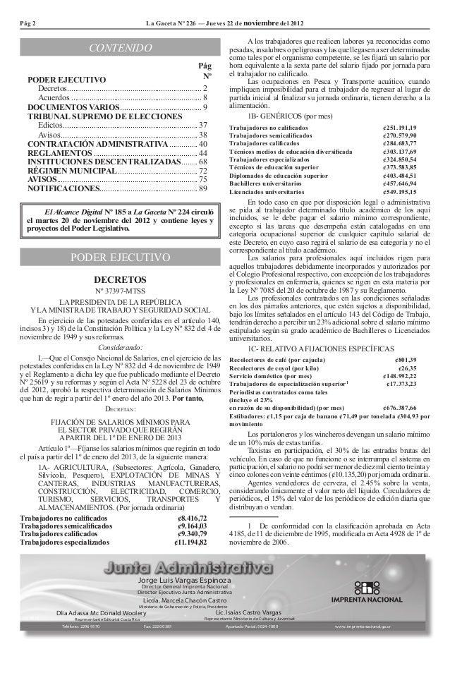Pág 2                                                          La Gaceta Nº 226 — Jueves 22 de noviembre del 2012         ...
