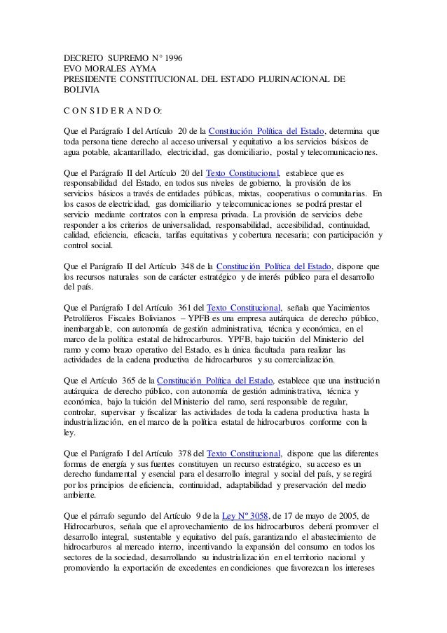 DECRETO SUPREMO N° 1996 EVO MORALES AYMA PRESIDENTE CONSTITUCIONAL DEL ESTADO PLURINACIONAL DE BOLIVIA C O N S I D E R A N...