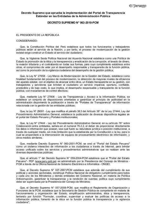 Decreto Supremo que aprueba la implementación del Portal de Transparencia Estándar en las Entidades de la Administración P...