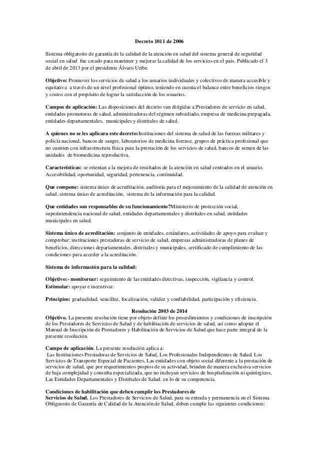 Decreto 1011 de 2006 Sistema obligatorio de garantía de la calidad de la atención en salud del sistema general de segurida...