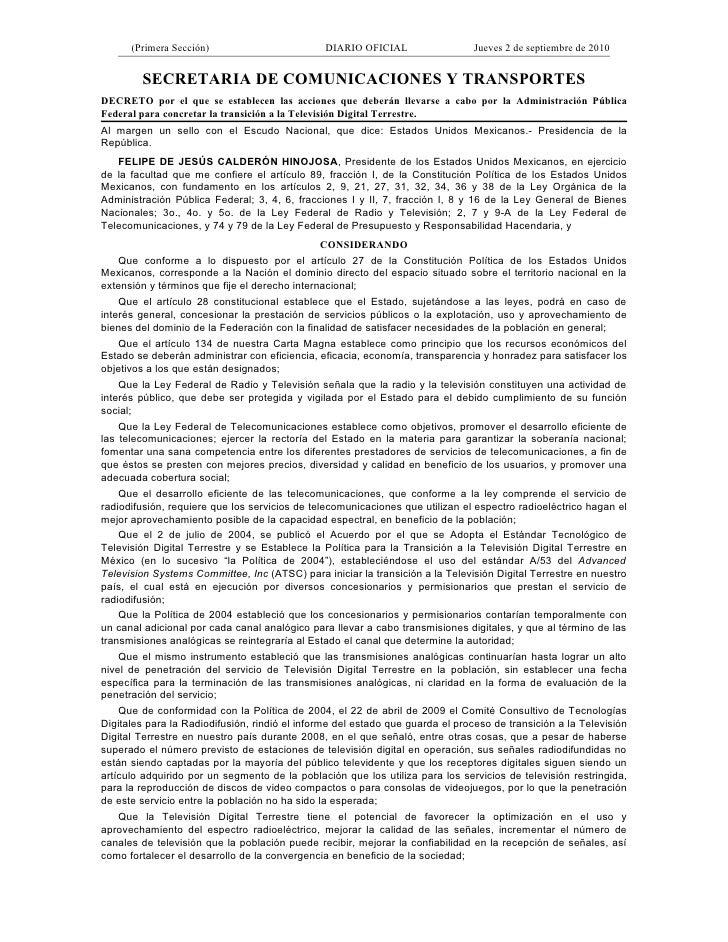 (Primera Sección)                         DIARIO OFICIAL                  Jueves 2 de septiembre de 2010           SECRETA...
