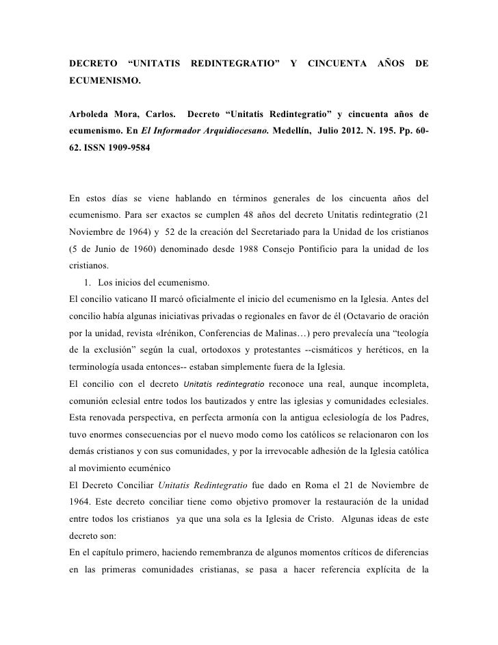 Decreto  unitatis_redintegratio__y_cincuenta_años_de_ecumenismo.