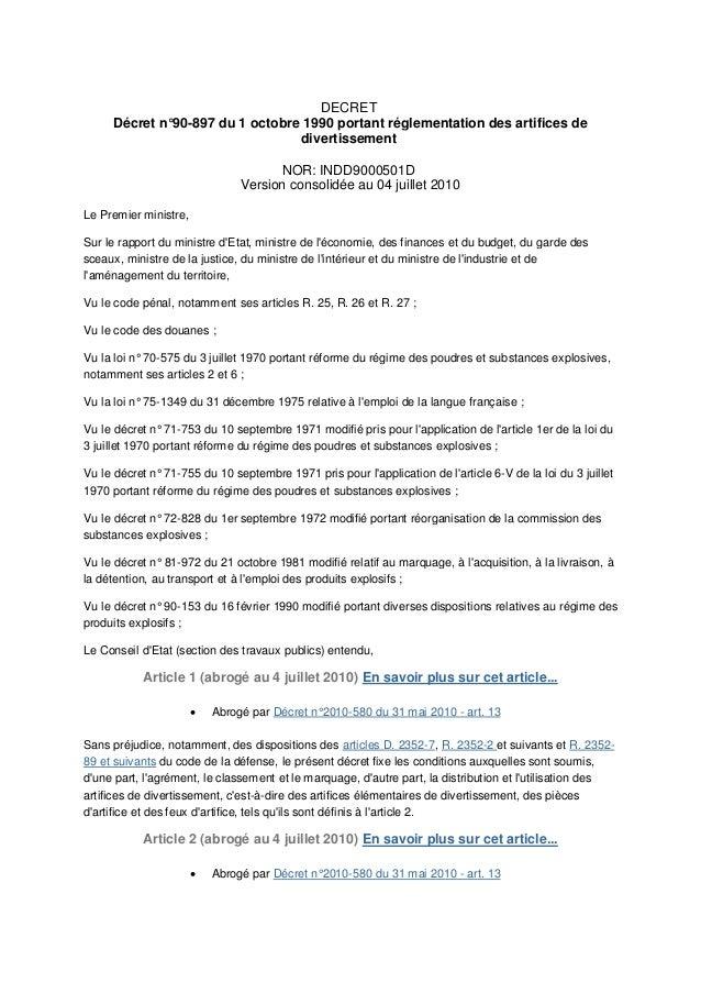 DECRET     Décret n°90-897 du 1 octobre 1990 portant réglementation des artifices de                                 diver...