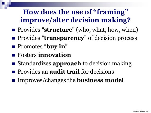 Help with framing in decision making?
