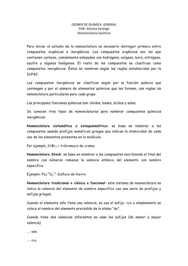 DEDBER DE QUÍMICA  GENERAL<br />POR: Ximena Sarango<br />Nomenclatura Química<br />Para iniciar el estudio de la nomenclat...