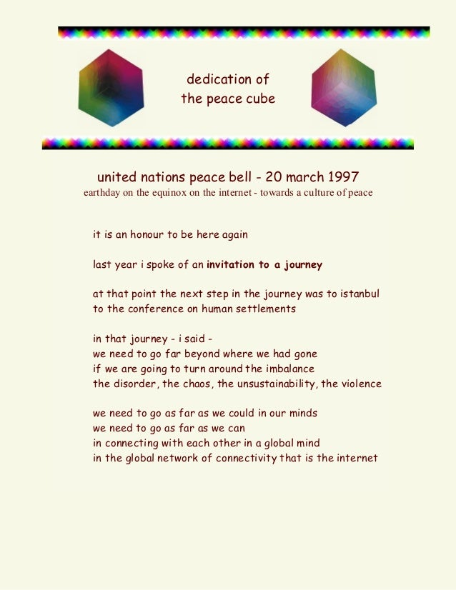 dedication of the peace cube  united nations peace bell - 20 march 1997 earthday on the equinox on the internet - towards ...