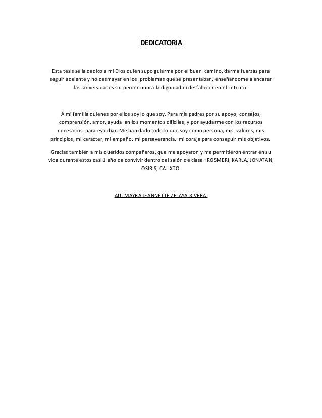 Dedicatoria de la tesis EJEMPLO XD