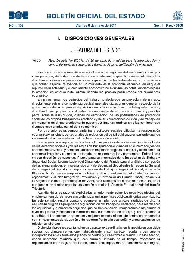 BOLETÍN OFICIAL DEL ESTADONúm. 108                                  Viernes 6 de mayo de 2011                           ...