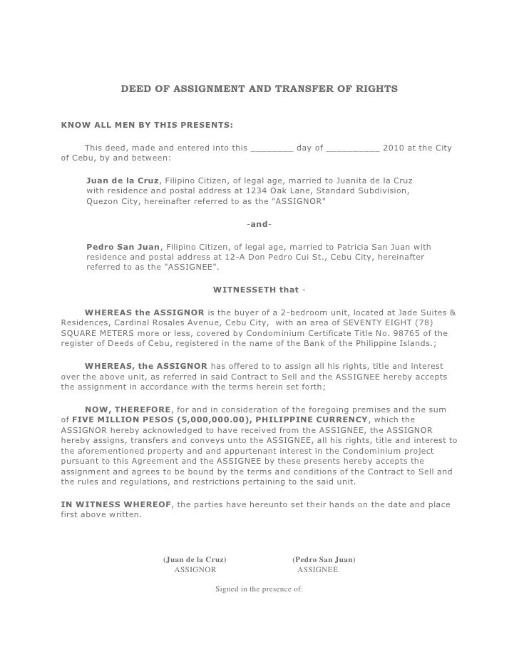 form of deed of assignment