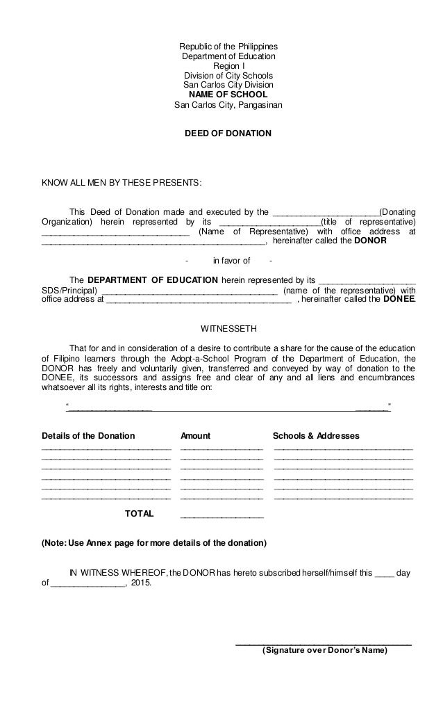 Deed Of Donation For Adopt A School