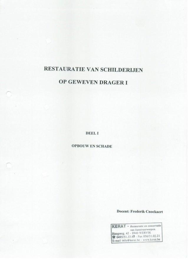Deel 1 cursus restauratie pagina 1 tot 16.