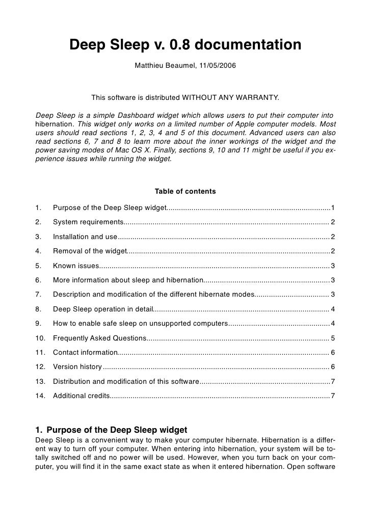 Deep Sleep v. 0.8 documentation                                            Matthieu Beaumel, 11/05/2006                   ...