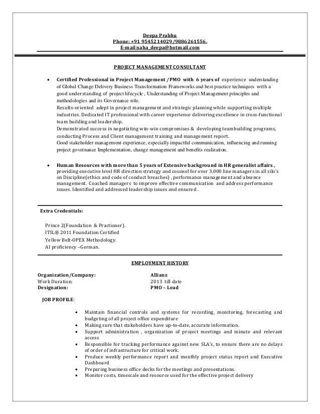 Pmo consultant resume