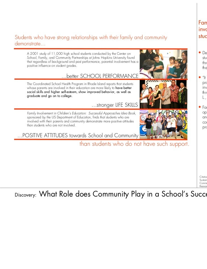 Family and community                                                                                        involvement is...