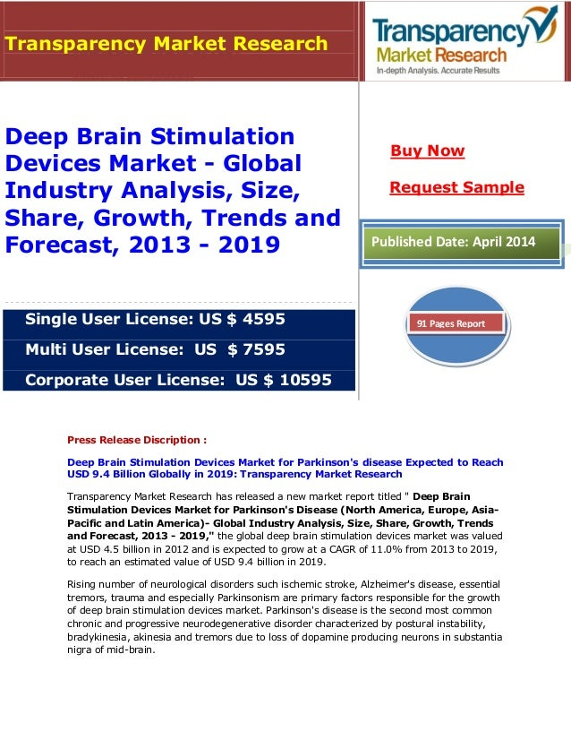 Deep Brain Stimulation Devices Market for Parkinson's Disease (North America, Europe, Asia-Pacific and Latin America) - Global Industry Analysis, Size, Share, Growth, Trends and Forecast, 2013 - 2019