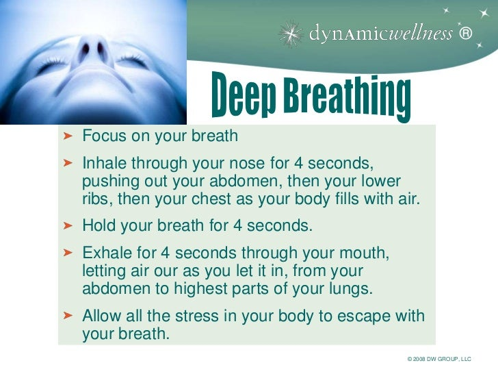 ®Focus on your breathInhale through your nose for 4 seconds,pushing out your abdomen, then your lowerribs, then your chest...