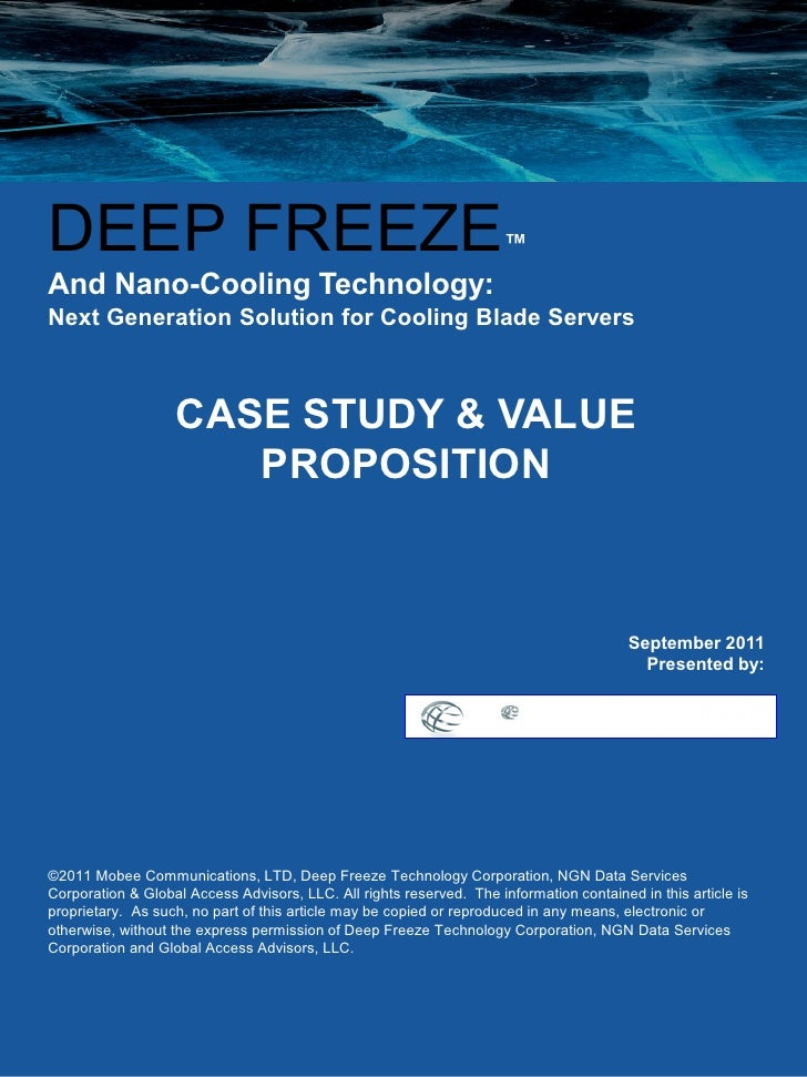 DEEP FREEZE                                                           ™And Nano-Cooling Technology:Next Generation Solutio...