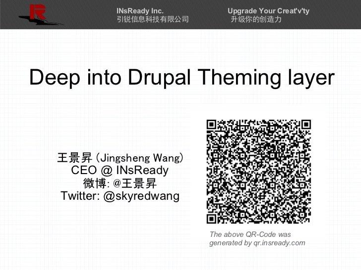 INsReady Inc.        Upgrade Your Creatvty           引锐信息科技有限公司            升级你的创造力Deep into Drupal Theming layer  王景昇 (Jin...