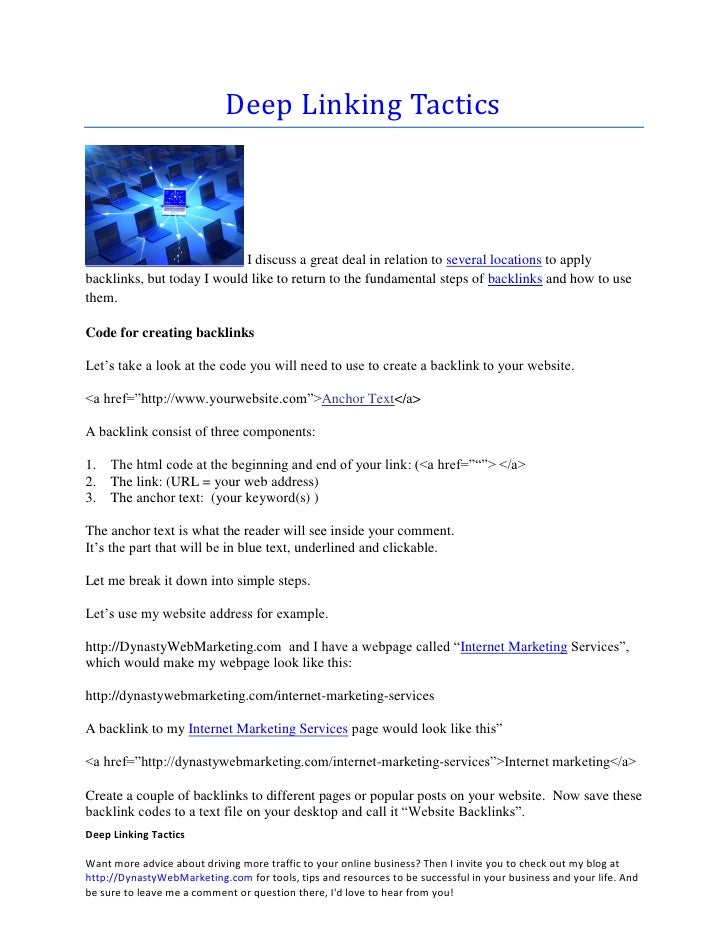 Deep Linking Tactics                                I discuss a great deal in relation to several locations to apply backl...