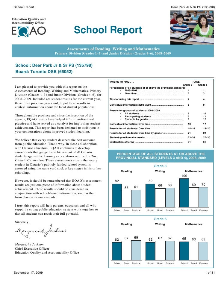 Deer Park Junior and Senior Public School Gr JK - 8 - EQAO School Report