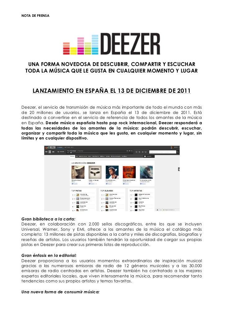 Deezer launch spain