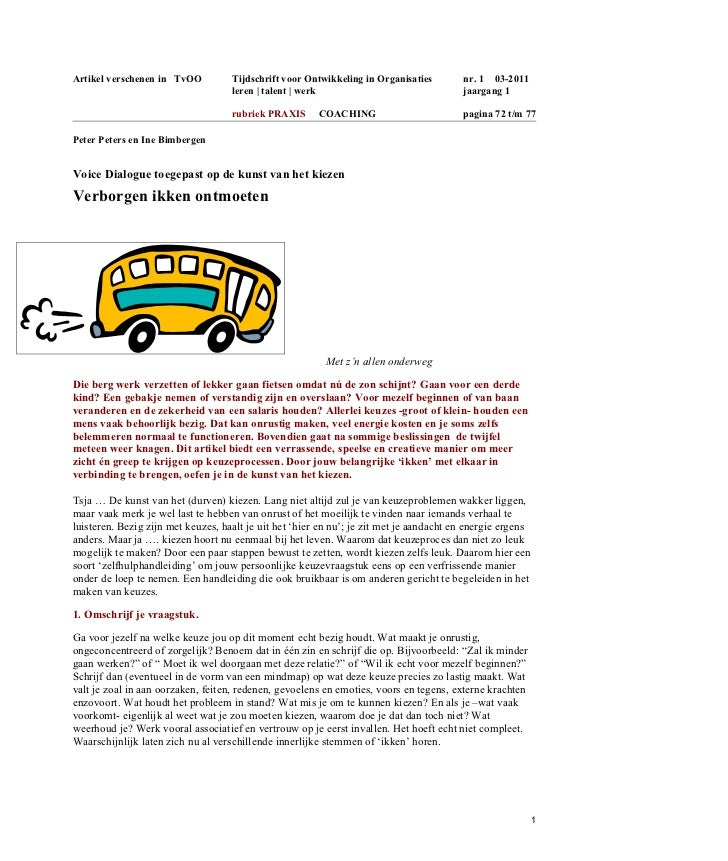 Artikel verschenen in TvOO          Tijdschrift voor Ontwikkeling in Organisaties        nr. 1 03-2011                    ...