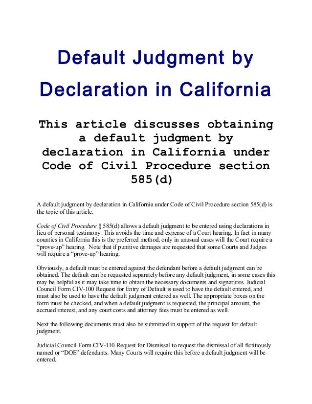 What Is a Motion for Default Judgement?