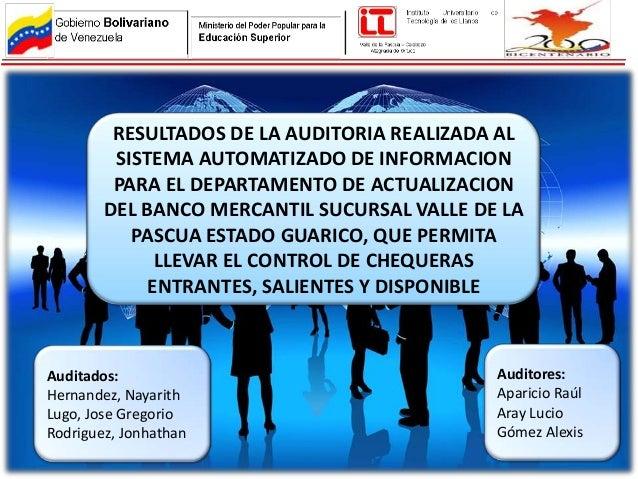 RESULTADOS DE LA AUDITORIA REALIZADA AL         SISTEMA AUTOMATIZADO DE INFORMACION         PARA EL DEPARTAMENTO DE ACTUAL...