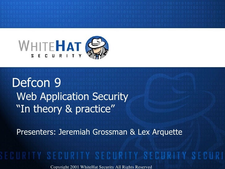 """Web Application Security - """"In theory and practice"""""""