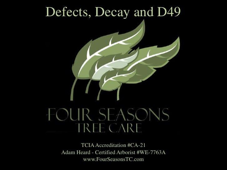 Defects, Decay and D49<br />TCIA Accreditation #CA-21 <br />Adam Heard - Certified Arborist #WE-7763A<br />www.FourSeasons...