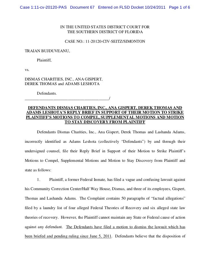 Case 1:11-cv-20120-PAS Document 67 Entered on FLSD Docket 10/24/2011 Page 1 of 6                       IN THE UNITED STATE...