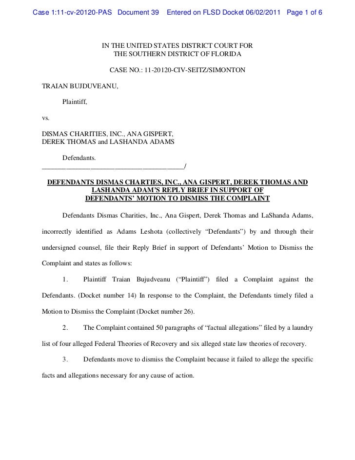 Defendants dismas charties, inc., ana gispert, derek thomas and lashanda adam's reply brief in support of defendants' motion to dismiss the complaint