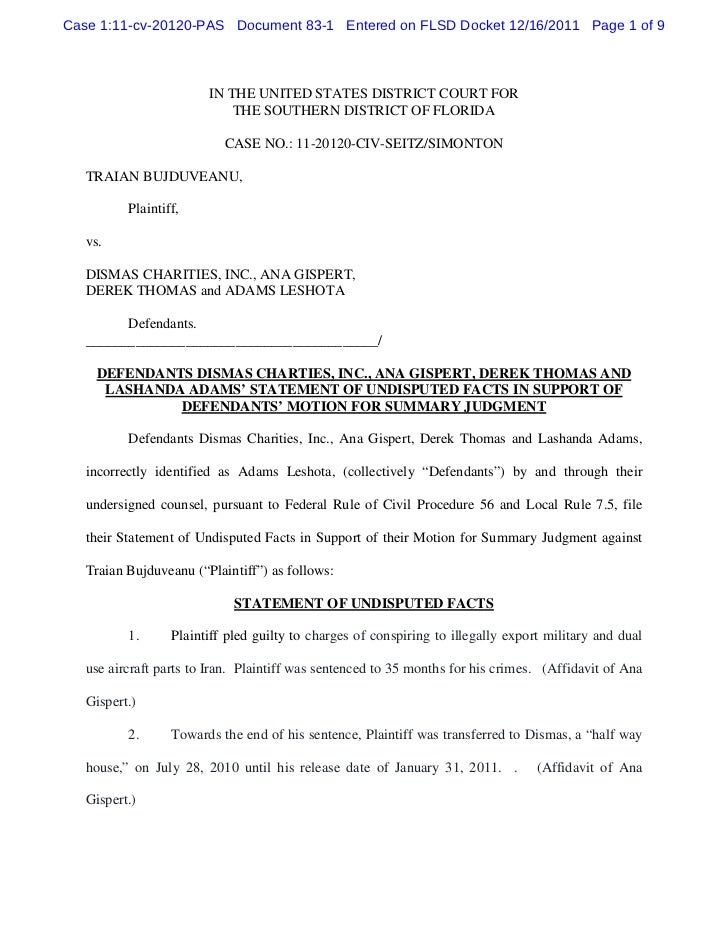 Defendants dismas charties, inc., ana gispert, derek thomas and lashanda adams' statement of undisputed facts in support of defendants' motion for summary judgment