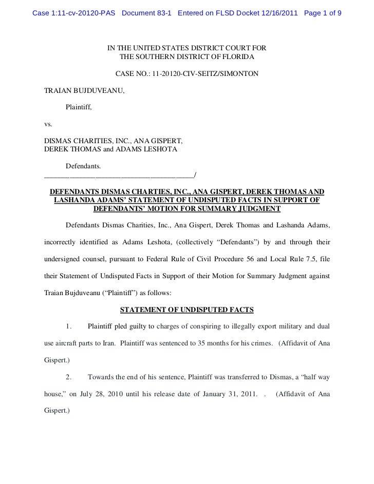 Defendants dismas charties, inc., ana gispert, derek thomas and lashanda adams' statement of undisputed facts in support of defendants' motion for summary judgment