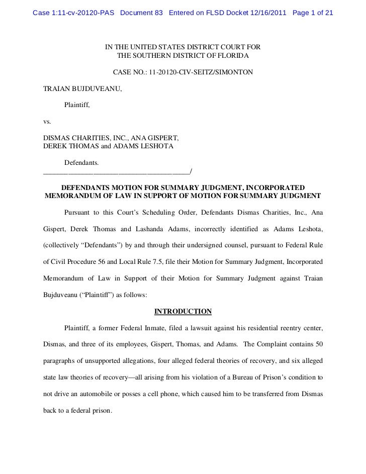 Defendants motion for summary judgment, incorporated memorandum of law in support of motion for summary judg
