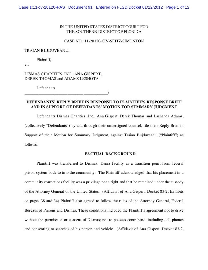 Defendants' reply brief in response to plaintiff's response brief and in support of defendants' motion for summary judgment