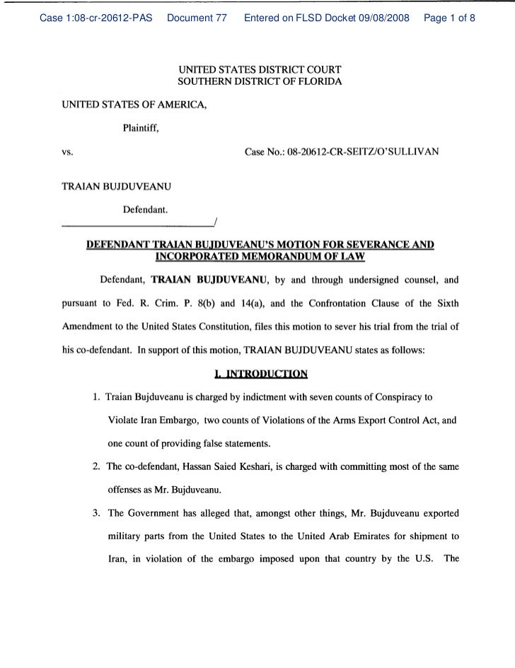 Defendant traian bujduveanu's motion for severance and incorporated memorandum of law
