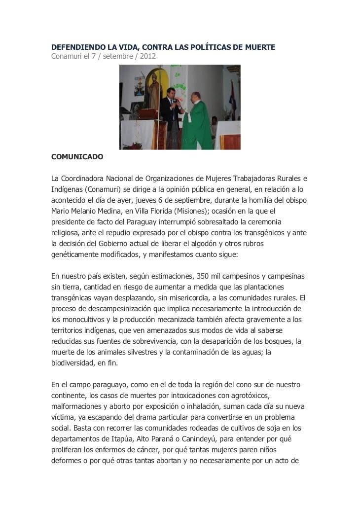 DEFENDIENDO LA VIDA, CONTRA LAS POLÍTICAS DE MUERTEConamuri el 7 / setembre / 2012COMUNICADOLa Coordinadora Nacional de Or...