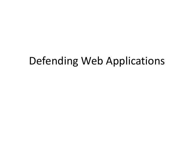 Defending Web Applications